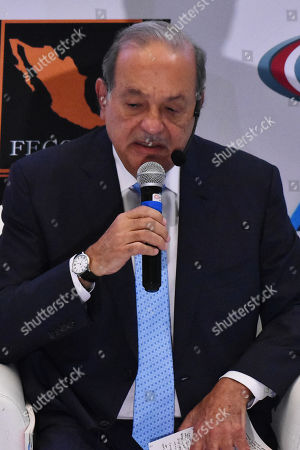 Businessman Carlos Slim Helu speaks during ' The Historical Center: A Personal Vision' master conference
