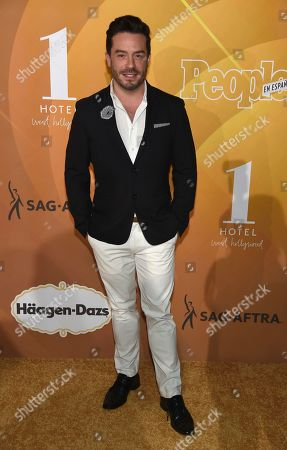 """Stock Photo of Juan Pablo Espinosa arrives at People en Espanol's """"Most Beautiful"""" party, at 1 Hotel in West Hollywood, Calif"""