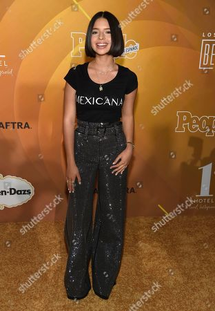 """Angela Aguilar arrives at People en Espanol's """"Most Beautiful"""" party, at 1 Hotel in West Hollywood, Calif"""