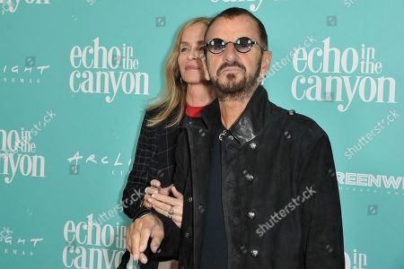 "Barbara Bach, Ringo Starr. Barbara Bach, left, and Ringo Starr attend the LA Premiere of ""Echo in the Canyon"" at Cinerama Dome, in Los Angeles"