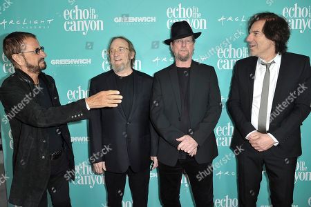 "Ringo Starr, Stephen Stills, Roger McGuinn, Andrew Slater. Ringo Starr, from left, Stephen Stills, Roger McGuinn and Andrew Slater attend the LA Premiere of ""Echo in the Canyon"" at Cinerama Dome, in Los Angeles"
