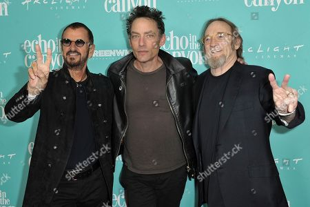 "Ringo Starr, Jakob Dylan, Stephen Stills. Ringo Starr, from left, Jakob Dylan and Stephen Stills attend the LA Premiere of ""Echo in the Canyon"" at Cinerama Dome, in Los Angeles"