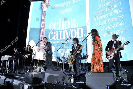 "Jakob Dylan performs on stage after screening of ""Echo in the Canyon"" at Cinerama Dome, in Los Angeles"