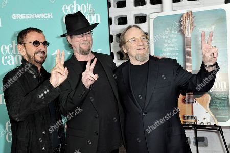 "Ringo Starr, Roger McGuinn, Stephen Stills. Ringo Starr, from left, Roger McGuinn and Stephen Stills attend the LA Premiere of ""Echo in the Canyon"" at Cinerama Dome, in Los Angeles"