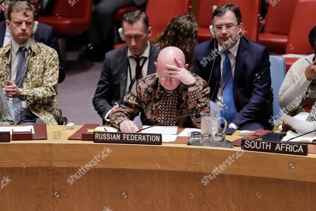Vasily Nebenzya, Permanent Representative of the Russian Federation to the UN during the Security Council debate on protection of civilians in armed conflict today at the UN Headquarters