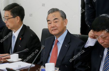 Minister of Foreign Affairs of China Wang Yi  (C) speaks during his meeting with Georgian Foreign Minister David Zalkaliani (not pictured), in Tbilisi, Georgia, 24 May 2019. Wang Yi is on a official visit to Georgia.