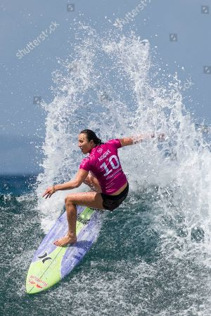 Carissa Moore of Hawaii in action during women's quarter final at the Corona Bali Protected surfing event as part of the 2019 World Surf League in Keramas, Bali, Indonesia, 24 May 2019.