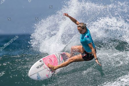 Stock Photo of Australian Sally Fitzgibbons in action during women's quarter final at the Corona Bali Protected surfing event as part of the 2019 World Surf League in Keramas, Bali, Indonesia, 24 May 2019.
