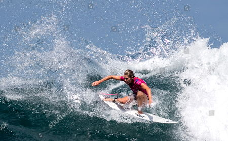 Australian Stephanie Gilmore in action during women's quarter final at the Corona Bali Protected surfing event as part of the 2019 World Surf League in Keramas, Bali, Indonesia, 24 May 2019.