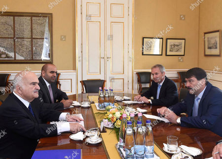 Hungarian President Janos Ader (R) and Prince Hassan bin Talal of Jordan (L) during their meeting at the presidential Alexander Palace in Budapest, Hungary, 24 May 2019.