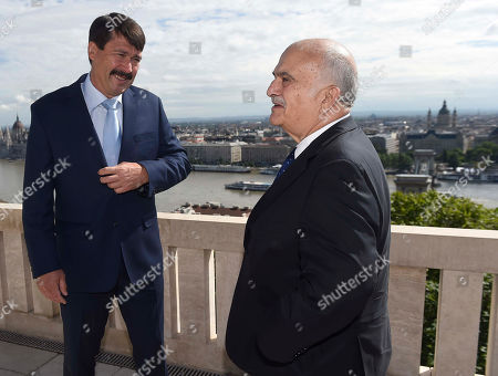 Hungarian President Janos Ader (L) receives Prince Hassan bin Talal of Jordan at the presidential Alexander Palace in Budapest, Hungary, 24 May 2019.