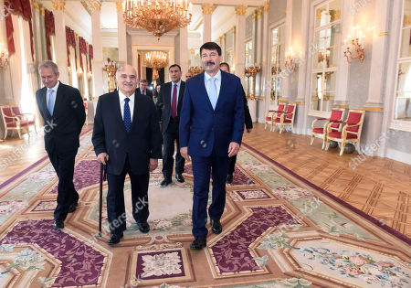 Hungarian President Janos Ader (R) receives Prince Hassan bin Talal of Jordan (C) at the presidential Alexander Palace in Budapest, Hungary, 24 May 2019.