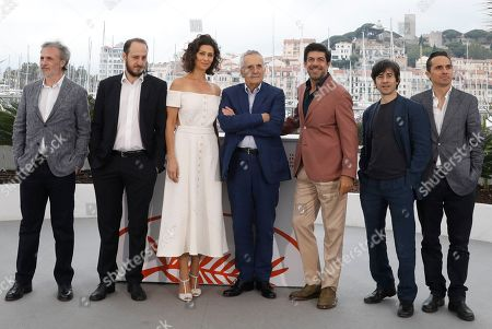 Fabrizio Ferracane, Fausto Russo Alesi, Maria Fernanda Candido, Marco Bellocchio, Pierfrancesco Favino, Luigi Lo Cascio, Pier Giorgio Bellocchio. Actors Fabrizio Ferracane, from left, Fausto Russo Alesi, Maria Fernanda Candido, director Marco Bellocchio, actors Pierfrancesco Favino, Luigi Lo Cascio and Pier Giorgio Bellocchio pose for photographers at the photo call for the film 'The Traitor' at the 72nd international film festival, Cannes, southern France