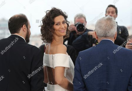 Fausto Russo Alesi, Maria Fernanda Candido, Marco Bellocchio. Actors Fausto Russo Alesi, from left, Maria Fernanda Candido and director Marco Bellocchio pose for photographers at the photo call for the film 'The Traitor' at the 72nd international film festival, Cannes, southern France