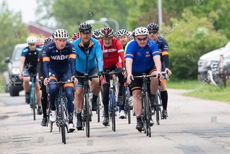 Danish Prime Minister Lars Loekke Rasmussen (2-R) starts his day with a 40 km cycling tour with local candidates during his election campaign at Vejle in Jutland, Denmark, 24 May 2019. Denmark holds a general election on 05 June 2019.