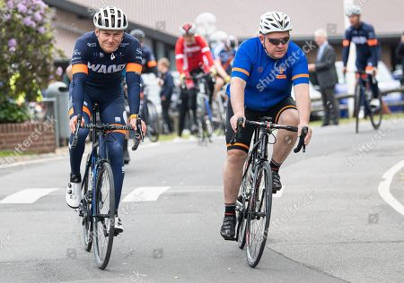 Danish Prime Minister Lars Loekke Rasmussen (R) starts his day with a 40 km cycling tour with local candidates during his election campaign at Vejle in Jutland, Denmark, 24 May 2019. Denmark holds a general election on 05 June 2019.