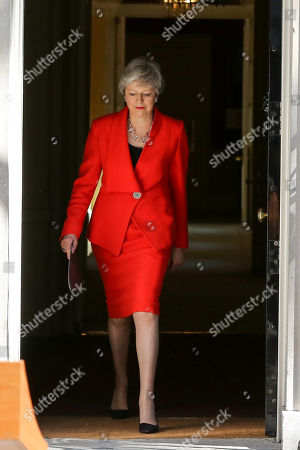 British Prime Minister Theresa May makes a statement in Downing Street after meeting Graham Brady, the chair of 1922 committee. Theresa May will resigns as Prime Minister and the leader of the Conservative Party on 7 June 2019.