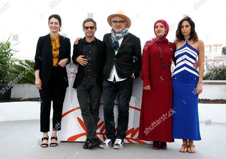 Qatari producer Hanaa Issa (L) Lebanese actress and singer Yasmine Hamdan (R), Palestine director Elia Suleiman (C), Qatari producer Fatma Hassan Al Remaihi (2-R) and Mexican actor Gael Garcia Bernal (2-L) pose during the photocall for 'It Must Be Heaven' at the 72nd annual Cannes Film Festival, in Cannes, France, 24 May 2019. The movie is presented in the Official Competition of the festival which runs from 14 to 25 May.