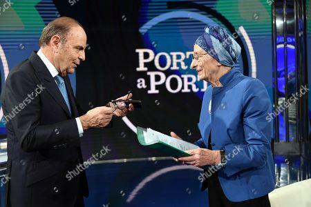 Journalist Bruno Vespa, Leader of +Europa party Emma Bonino
