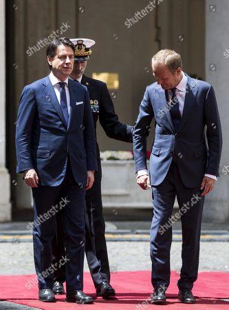 Italian Prtime Minister Giuseppe Conte meets Donald Tusk, Rome