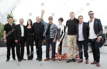 US producer Jonathan Yunger, French producer Victor Hadida, US actress Christa Campbell, Israeli-US producer Avi Lerner, US actor Sylvester Stallone, Spanish actress Paz Vega, US producer Yariv Lerner, US producer Kevin King and US producer Jeff Greenstein pose with others during the photocall for 'Rendez-Vous Withâ?¦ Sylvester Stallone' and 'Rambo V: Last Blood' at the 72nd annual Cannes Film Festival, in Cannes, France, 24 May 2019. The festival runs from 14 to 25 May.