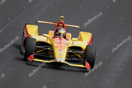 Ryan Hunter-Reay drives into turn one during the final practice session for the Indianapolis 500 IndyCar auto race at Indianapolis Motor Speedway, in Indianapolis