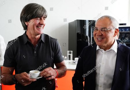 German national soccer team head coach Joachim Loew (L) and German coach Felix Magath (R) attend the BILD100 Sport event in Berlin, Germany, 24 May 2019. The event invites 100 of the most important and influential German and International personalities of Politics, Economics, and Sport.