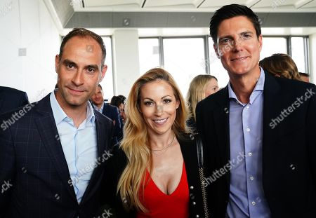 (L-R) RB Leipzig's general manager Oliver Mintzlaff, German TV presenter Andrea Kaiser, and German sports manager Marcus Hoefl attend the BILD100 Sport event in Berlin, Germany, 24 May 2019. The event invites 100 of the most important and influential German and International personalities of Politics, Economics, and Sport.