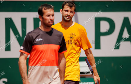 Grigor Dimitrov of Bulgaria in action with new coach Radek Stepanek