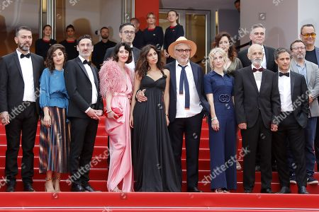 Israeli actor Karim Ghneim, French actress Yasmine Haj, Canadian actor Fadi Sakr, Lebanese actress Raia Haidar, Lebanese actress Yasmine Hamdan, Palestine director Elia Suleiman, Canadian producer Nancy Grant, Israeli actor Tarik Kopty and Mexican actor Gael Garcia Bernal arrive for the screening of 'It Must Be Heaven' at the 72nd annual Cannes Film Festival, in Cannes, France, 24 May 2019. The movie is presented in the Official Competition of the festival which runs from 14 to 25 May.