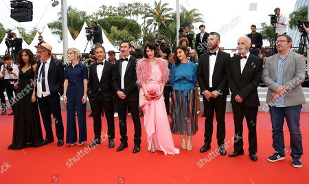 Yasmine Hamdan, Palestine director Elia Suleiman, Canadian producer Nancy Grant, Mexican actor Gael Garcia Bernal, Canadian actor Fadi Sakr, Canadian actress Raia Haidar, French actress Yasmine Haj, Israeli actor Farim Ghneim, Israeli actor Tarik Kopty and French actor Vincent Maraval arrive for the screening of 'It Must Be Heaven' at the 72nd annual Cannes Film Festival, in Cannes, France, 24 May 2019. The movie is presented in the Official Competition of the festival which runs from 14 to 25 May.