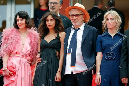 Yasmine Hamdan (2-L), Palestine director Elia Suleiman (2-R), Canadian producer Nancy Grant (R) and Canadian actress Raia Haidar arrive for the screening of 'It Must Be Heaven' at the 72nd annual Cannes Film Festival, in Cannes, France, 24 May 2019. The movie is presented in the Official Competition of the festival which runs from 14 to 25 May.
