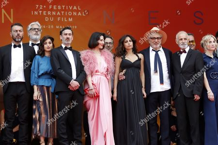Israeli actor Karim Ghneim, French actress Yasmine Haj, Canadian actor Fadi Sakr, Lebanese actress Raia Haidar, Lebanese actress Yasmine Hamdan, Palestine director Elia Suleiman, Israeli actor Tarik Kopty and Canadian producer Nancy Grant arrive for the screening of 'It Must Be Heaven' at the 72nd annual Cannes Film Festival, in Cannes, France, 24 May 2019. The movie is presented in the Official Competition of the festival which runs from 14 to 25 May.