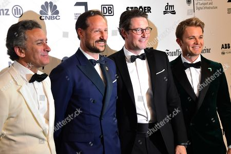 Formel E boss Alejandro Agag, Norwegian Crown Prince Haakon, German Minister of Transport and Digital Infrastructure Andreas Scheuer and former German Formula One driver Nico Rosberg arrive for the Green Awards held on the occasion of the Green Festivals in Berlin, Germany, 24 May 2019.