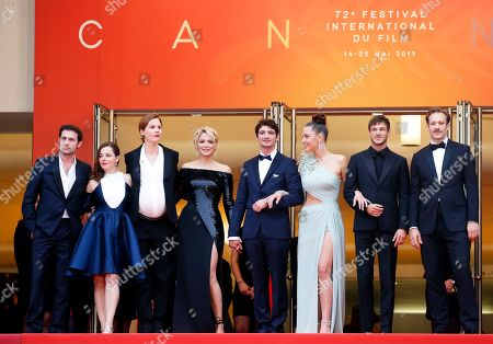 Arthur Harari, Laure Calamy, French director Justine Triet, Belgian actress Virginie Efira, French actor Niels Schneider, French actress Adele Exarchopoulos, French actor Gaspard Ulliel and Paul Hamy arrive for the screening of 'Sibyl' at the 72nd annual Cannes Film Festival, in Cannes, France, 24 May 2019. The movie is presented in the Official Competition of the festival which runs from 14 to 25 May.