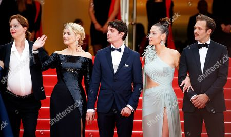 Justine Triet, Belgian actress Virginie Efira, French actor Niels Schneider, French actress Adele Exarchopoulos and Paul Hamy arrive for the screening of 'Sibyl' at the 72nd annual Cannes Film Festival, in Cannes, France, 24 May 2019. The movie is presented in the Official Competition of the festival which runs from 14 to 25 May.