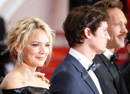 Virginie Efira, French actor Niels Schneider and Paul Hamy arrive for the screening of 'Sibyl' at the 72nd annual Cannes Film Festival, in Cannes, France, 24 May 2019. The movie is presented in the Official Competition of the festival which runs from 14 to 25 May.
