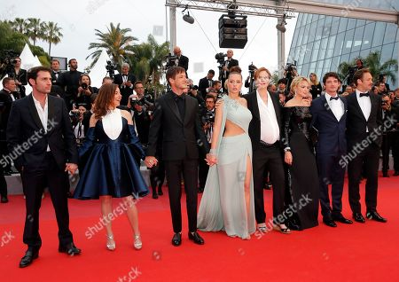 Arthur Harari, Laure Calamy, French actor Gaspard Ulliel, French actress Adele Exarchopoulos, French director Justine Triet, Belgian actress Virginie Efira, French actor Niels Schneider and Paul Hamy arrive for the screening of 'Sibyl' at the 72nd annual Cannes Film Festival, in Cannes, France, 24 May 2019. The movie is presented in the Official Competition of the festival which runs from 14 to 25 May.