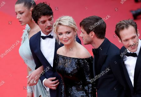 Adele Exarchopoulos, French-Canadian actor Niels Schneider, Belgian actress Virginie Efira, French actor Gaspard Ulliel and French actor Paul Hamy arrive for the screening of 'Sibyl' at the 72nd annual Cannes Film Festival, in Cannes, France, 24 May 2019. The movie is presented in the Official Competition of the festival which runs from 14 to 25 May.