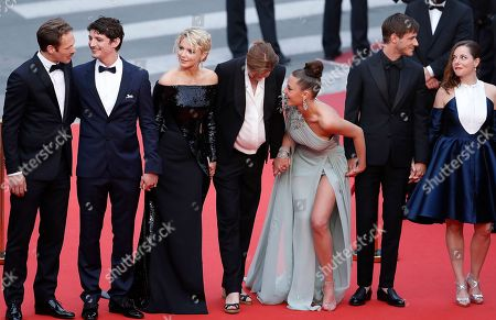 Paul Hamy, French-Canadian actor Niels Schneider, Belgian actress Virginie Efira, French director Justine Triet, French actress Adele Exarchopoulos, French actor Gaspard Ulliel and French actress Laure Calamy arrive for the screening of 'Sibyl' at the 72nd annual Cannes Film Festival, in Cannes, France, 24 May 2019. The movie is presented in the Official Competition of the festival which runs from 14 to 25 May.