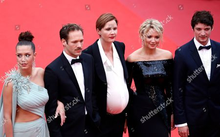 Adele Exarchopoulos, French actor Paul Hamy, Belgian actress Virginie Efira, French director Justine Triet and French-Canadian actor Niels Schneider arrive for the screening of 'Sibyl' at the 72nd annual Cannes Film Festival, in Cannes, France, 24 May 2019. The movie is presented in the Official Competition of the festival which runs from 14 to 25 May.