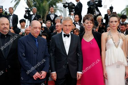 Jean-Pierre Jeunet, Bruno Delbonnel, Austrian actor Christoph Waltz, ballet dancer Marie Agnes Gillot and French actress Stacy Martin arrive for the screening of 'Sibyl' at the 72nd annual Cannes Film Festival, in Cannes, France, 24 May 2019. The movie is presented in the Official Competition of the festival which runs from 14 to 25 May.