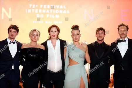 Niels Schneider, Belgian actress Virginie Efira, French director Justine Triet, French actress Adele Exarchopoulos, French actor Gaspard Ulliel and French actor Paul Hamy leave after the screening of 'Sibyl' at the 72nd annual Cannes Film Festival, in Cannes, France, 24 May 2019. The movie is presented in the Official Competition of the festival which runs from 14 to 25 May.