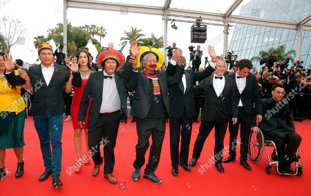 Leader of the Kayapo people a Brazilian Indigenous group leader of the Kayapo people Chief Raoni Metuktire (C) with Bemoro Metyktire (3-L), Tapi Yawalapiti (2-L), Belgian authir Jean-Pierre Dutilleux (3-R) arrive for the screening of 'Sibyl' at the 72nd annual Cannes Film Festival, in Cannes, France, 24 May 2019. The movie is presented in the Official Competition of the festival which runs from 14 to 25 May.