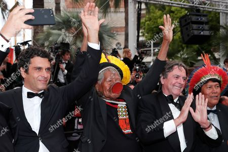 Chief Raoni Metuktire (2-L) of the Brazilian indigenous Kayapo people with Bemoro Metyktire (R) and Belgian writer Jean-Pierre Dutilleux (2-R) arrive for the screening of 'Sibyl' at the 72nd annual Cannes Film Festival, in Cannes, France, 24 May 2019. The movie is presented in the Official Competition of the festival which runs from 14 to 25 May.