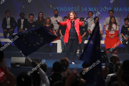 French Member of the La Republique En Marche (LaREM) party and candidate for the European elections Nathalie Loiseau  waves as she attends the last European elections campaign meeting in Paris, France, 24 May 2019. The European Parliament election is held by member countries of the European Union (EU) from 23 to 26 May 2019.