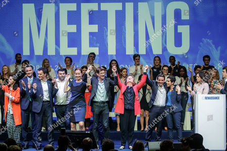 French Member of the La Republique En Marche (LaREM) party and candidate for the European elections Nathalie Loiseau (C-R) after her speech during the last European elections campaign meeting in Paris, France, 24 May 2019. The European Parliament election is held by member countries of the European Union (EU) from 23 to 26 May 2019.