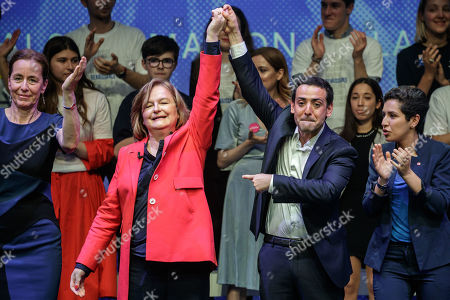 French Member of the La Republique En Marche (LaREM) party and candidate for the European elections Nathalie Loiseau (L) and her director of European campaign  Stephane Sejourne (R) after her speech during the last European elections campaign meeting in Paris, France, 24 May 2019. The European Parliament election is held by member countries of the European Union (EU) from 23 to 26 May 2019.