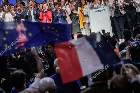 French Member of the La Republique En Marche (LaREM) party and candidate for the European elections Nathalie Loiseau (4-L) after her speech during the last European elections campaign meeting in Paris, France, 24 May 2019. The European Parliament election is held by member countries of the European Union (EU) from 23 to 26 May 2019.