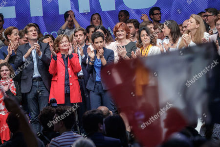 French Member of the La Republique En Marche (LaREM) party and candidate for the European elections Nathalie Loiseau (C-L) after her speech during the last European elections campaign meeting in Paris, France, 24 May 2019. The European Parliament election is held by member countries of the European Union (EU) from 23 to 26 May 2019.